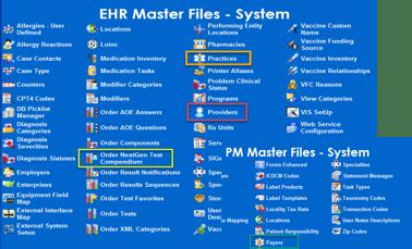 EHR File Maintenance Setup