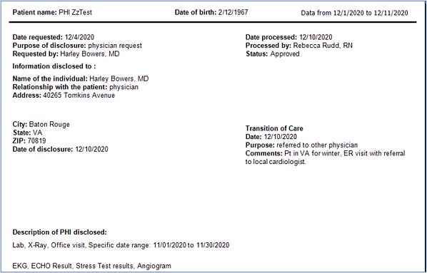 Example 2 PHI Log Report