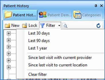 NextGen Filter Encounters on Patient History Toolbar