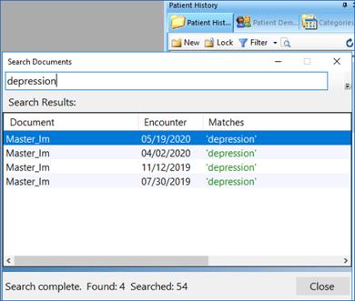 NextGen Search Documents on History Toolbar